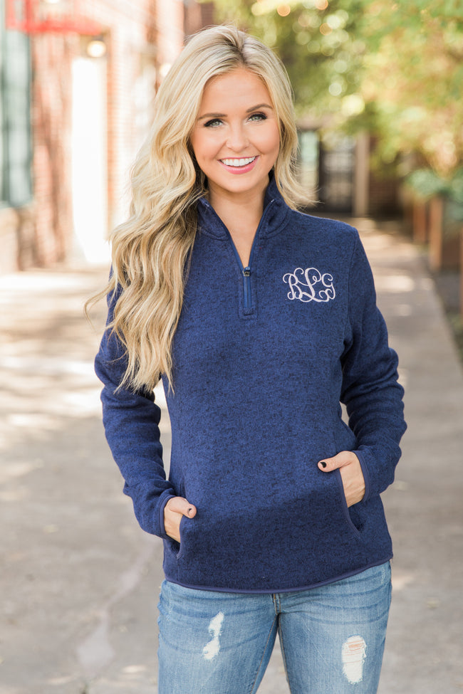 Monogrammed Navy Heathered Pullover