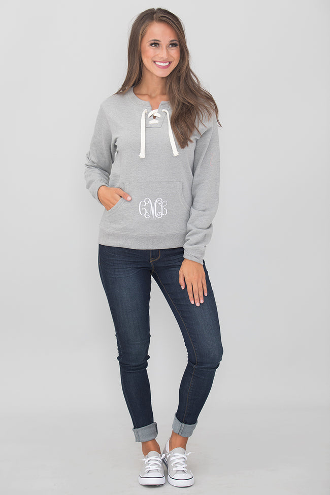 Monogrammed Grey Lace Up Sweatshirt