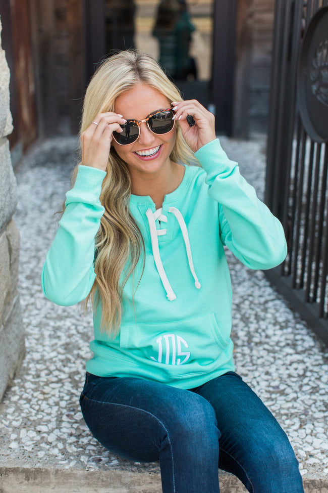 Monogrammed Mint Lace Up Sweatshirt