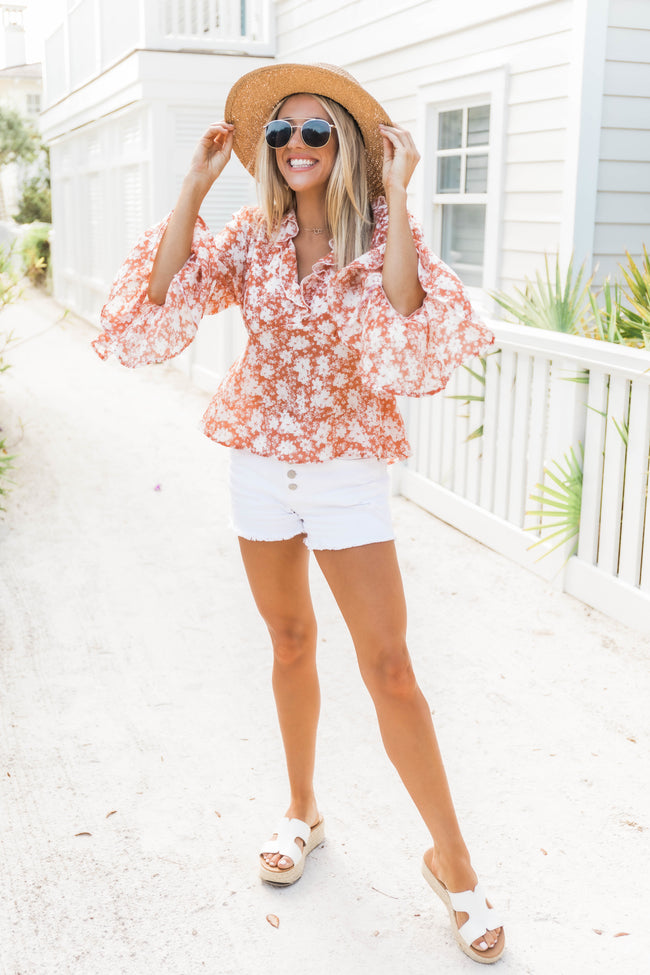 My Newest Love Floral Blouse Orange/Ivory