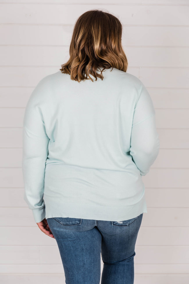 Need You By My Side Dusty Mint Sweater