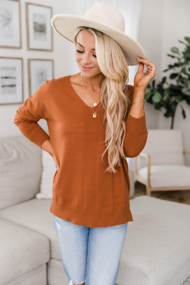 Need You By My Side Rust Sweater
