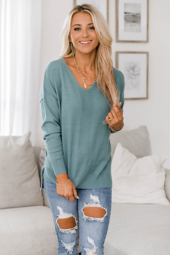 Need You By My Side Teal Sweater