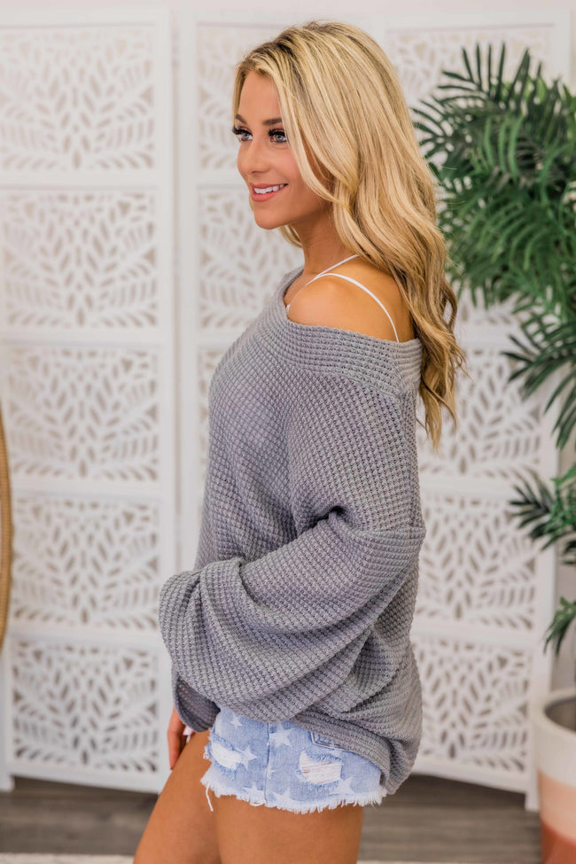 Need To Know You Better Heather Grey Blouse