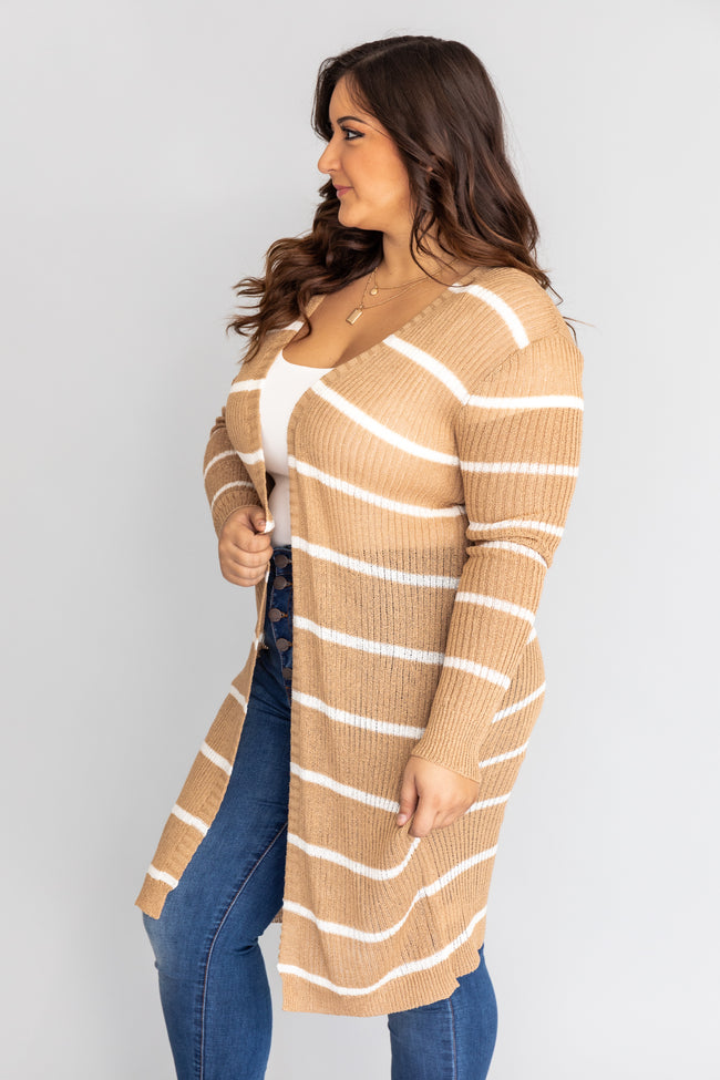 Neutral Territory Taupe/White Striped Duster Cardigan CLEARANCE