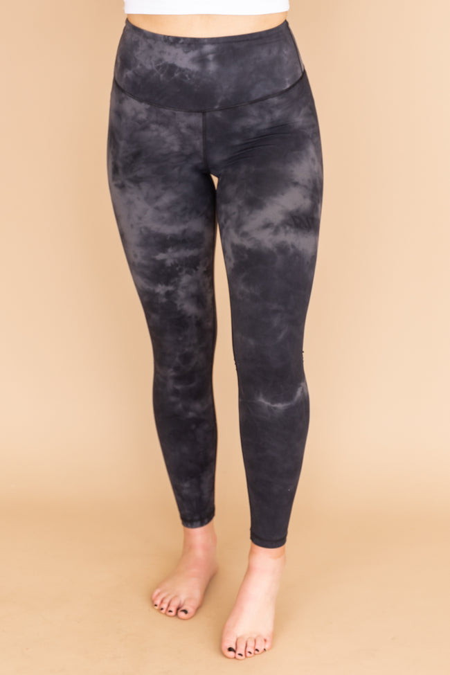 Never Giving Up Tie Dye Leggings Black