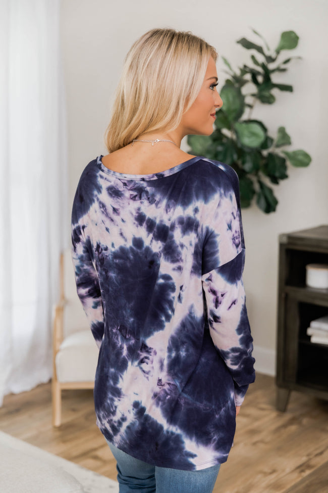 No Worries Tie Dye Blouse Navy CLEARANCE