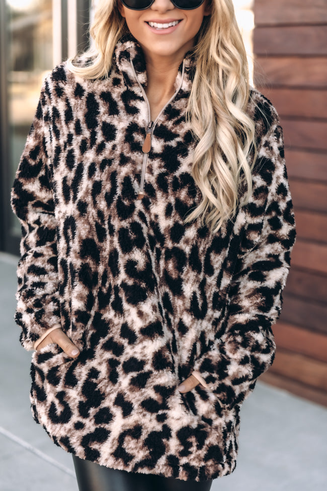 On The Prowl Animal Print Brown Sherpa Pullover