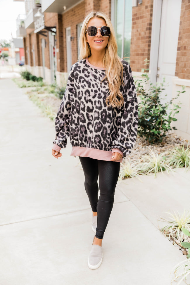 On Her Own Leopard Pullover Grey/Pink FINAL SALE