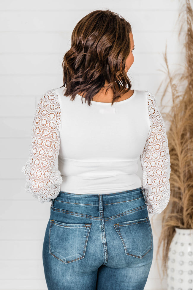 Once Upon A Time Eyelet White Bodysuit