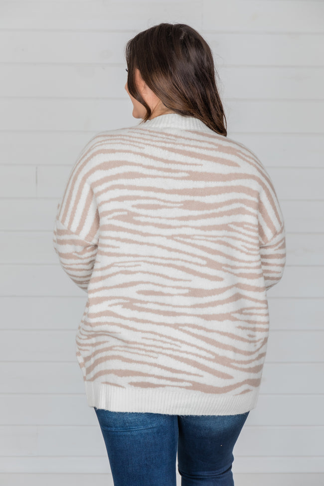 Out In The Wild Animal Print Cardigan Cream/Beige