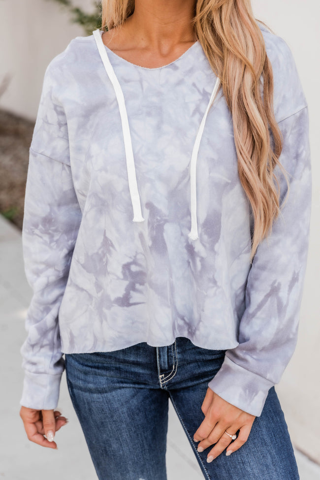 Over The Moon Tie Dye Grey Pullover