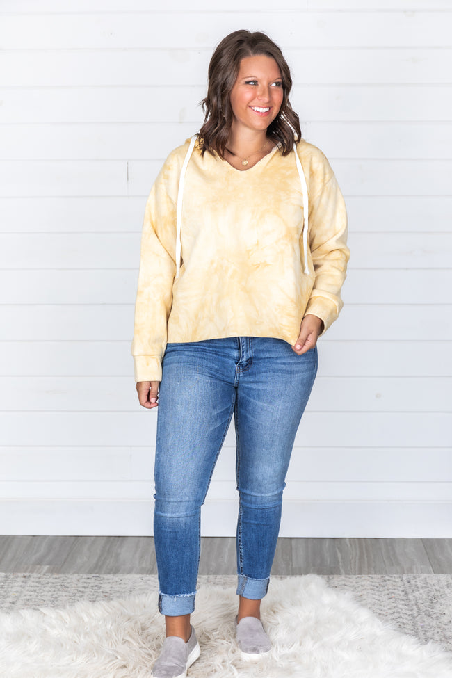 Over The Moon Tie Dye Yellow Pullover FINAL SALE