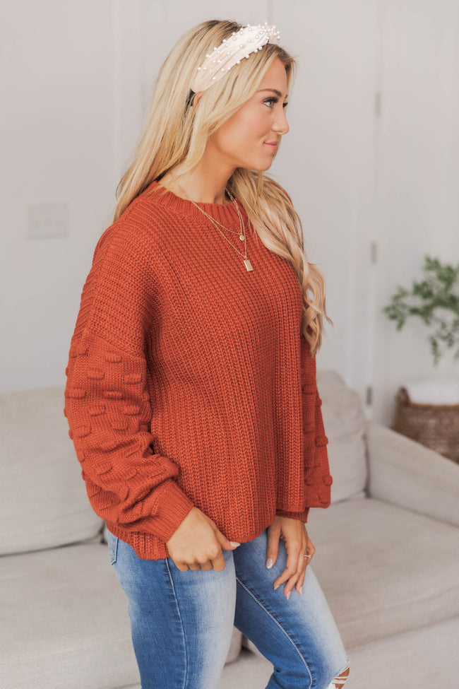 Perfect Time For Love Rust Sweater