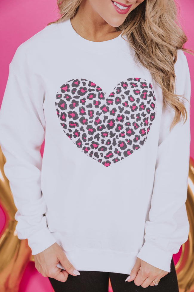 Pink Animal Print Heart White Graphic Sweatshirt