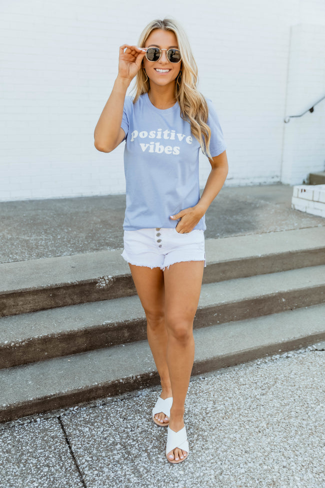 Positive Vibes Dusty Blue Graphic Tee
