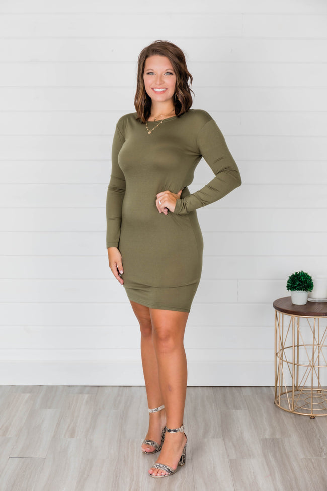 Power Of Love Olive Piko Dress FINAL SALE