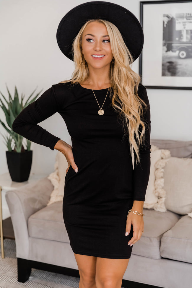 Power Of Love Black Piko Dress