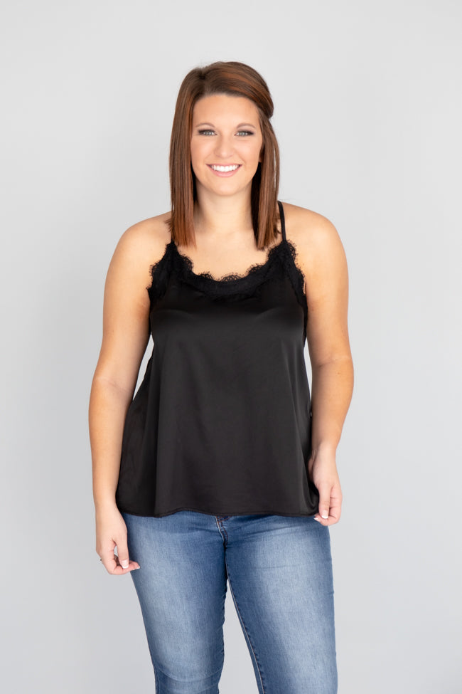 Precious To My Heart Black Lace Tank