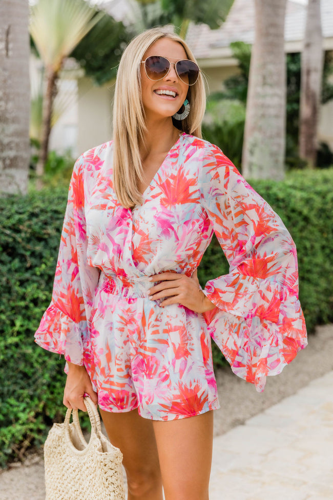 Promised Paradise Tropical Print Romper Pink CLEARANCE