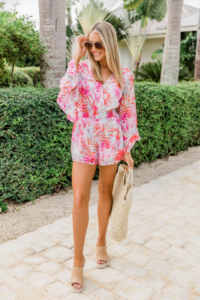 Promised Paradise Tropical Print Romper Pink SALE