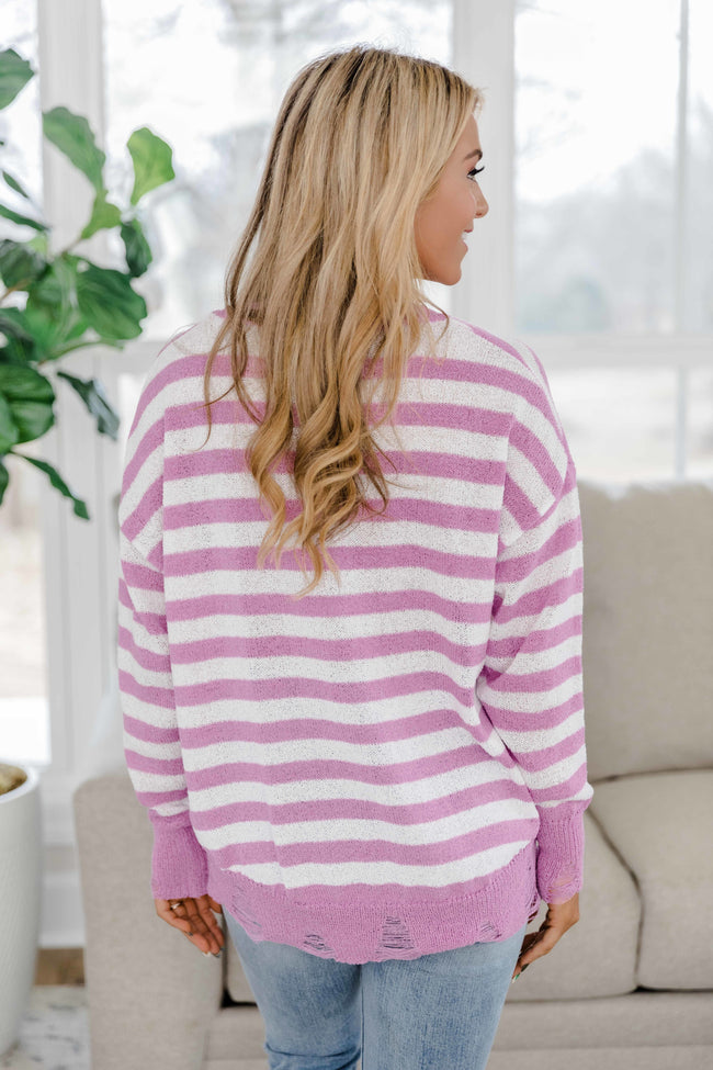 Prove It To Yourself Distressed Striped Sweater Lilac FINAL SALE