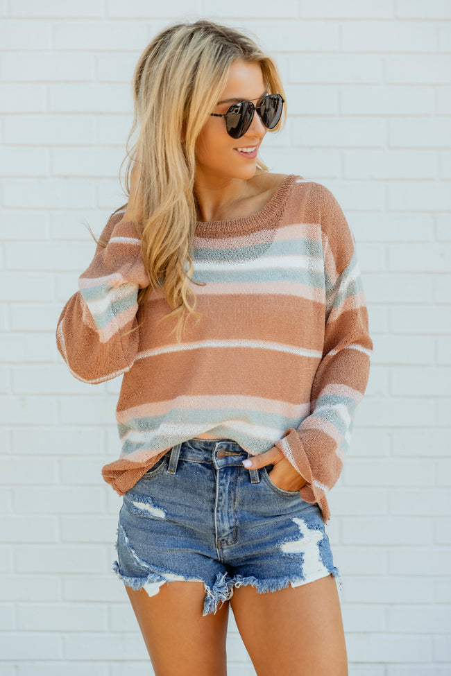 Pulling Me In Striped Sweater Peach