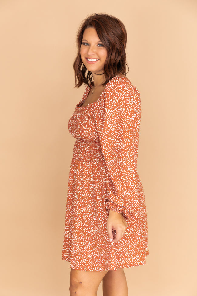 Push Your Luck Floral Rust Dress
