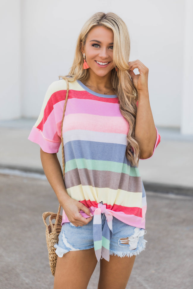 Rainbows In My Heart Multicolor Striped Blouse