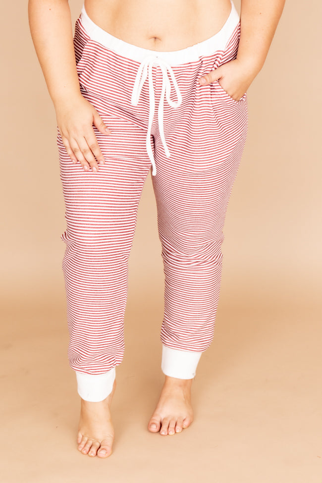 Remarkable Kiss Striped Red Joggers FINAL SALE