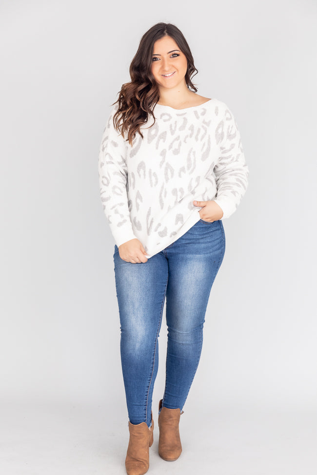Rewrite The Past Animal Print Grey Sweater