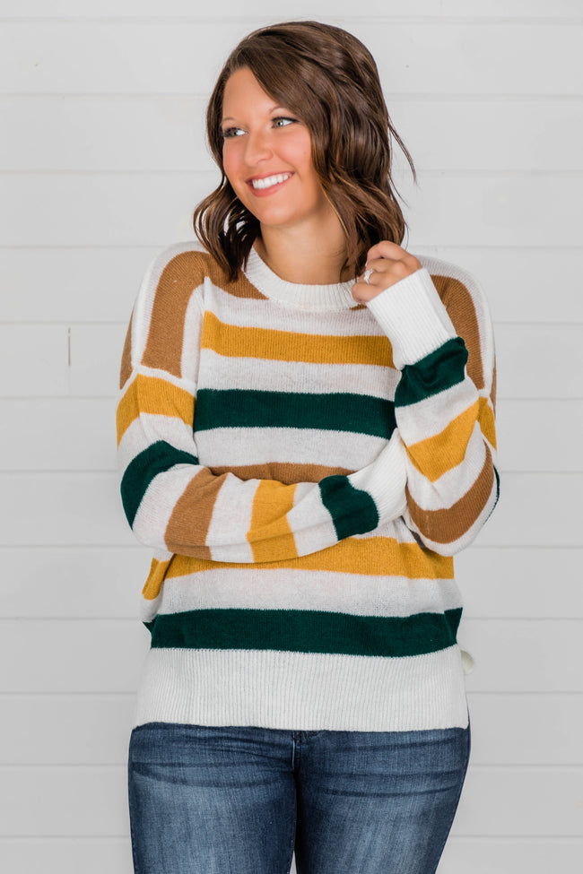 Rhyme The Words Striped GreenYellow Sweater – Pink Lily