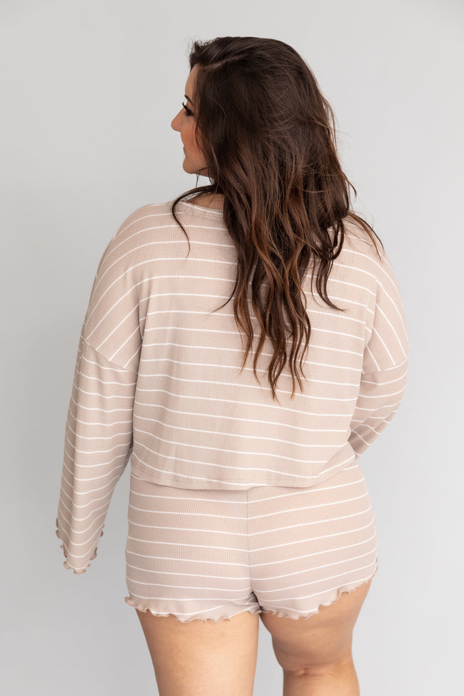 Run Through Your Mind Striped Taupe Blouse