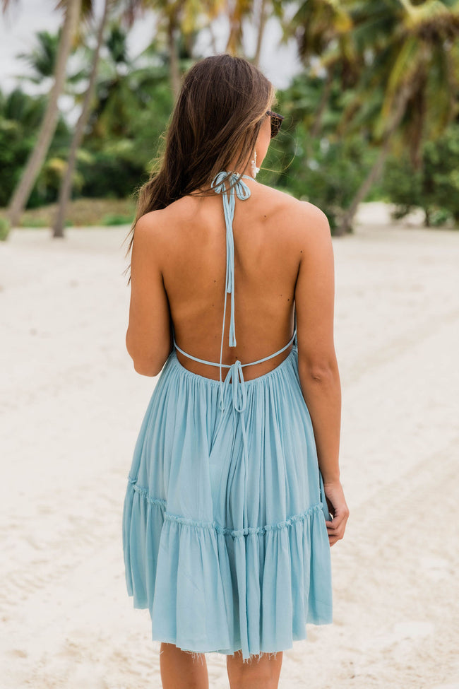 Runaway Ocean Halter Dress Sky Blue