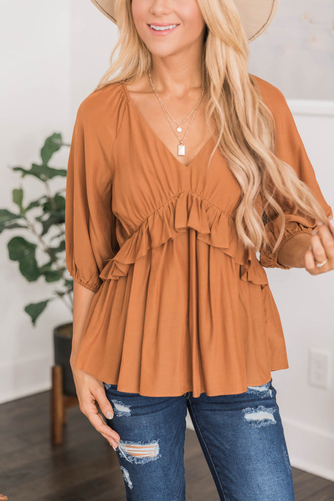 Say You Won't Let Go Babydoll Blouse Burnt Orange