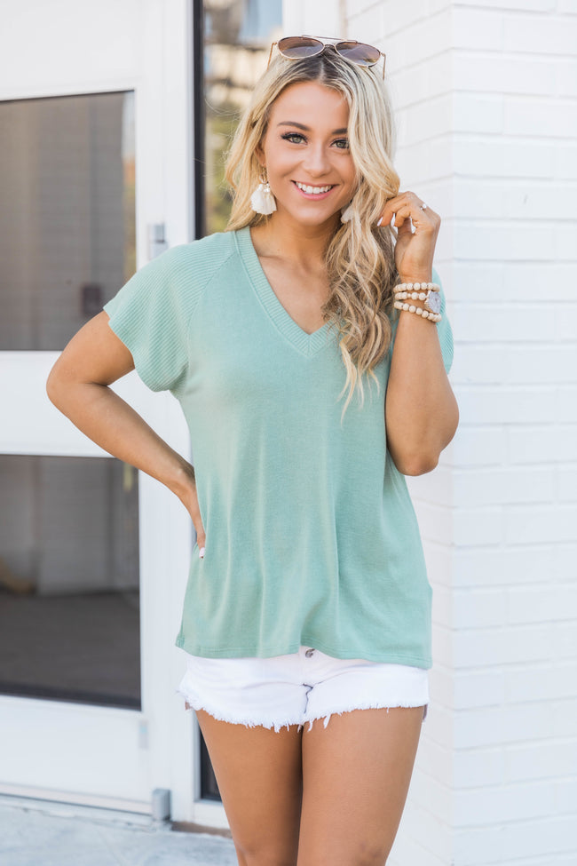 Say The Word V-Neck Blouse Sage