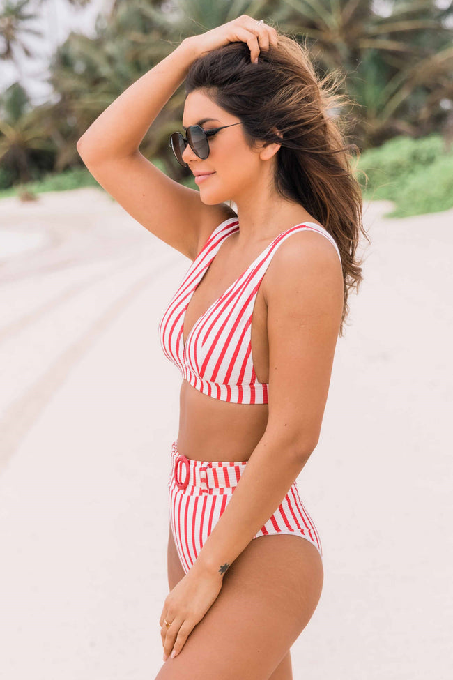 Sea You Later Red Striped Swimsuit Bottom