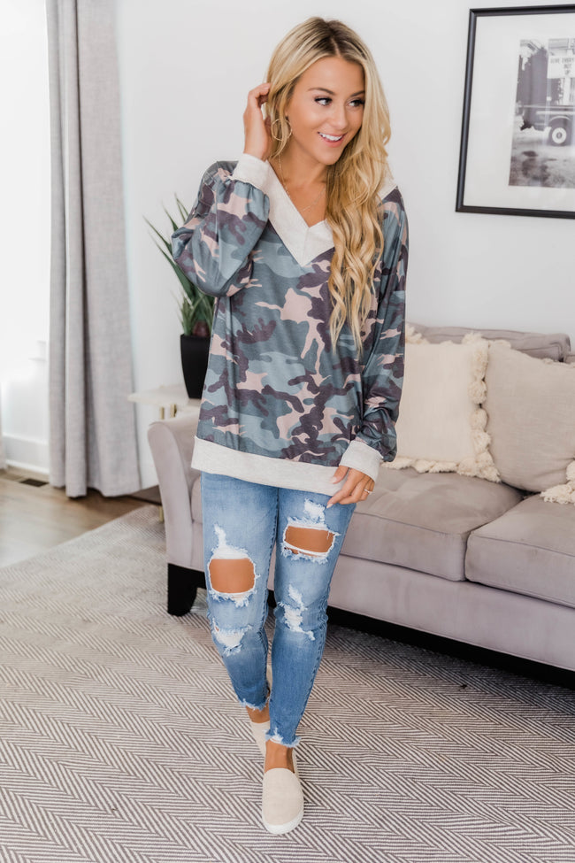 Search For Perfection Oatmeal Camo Print Blouse FINAL SALE