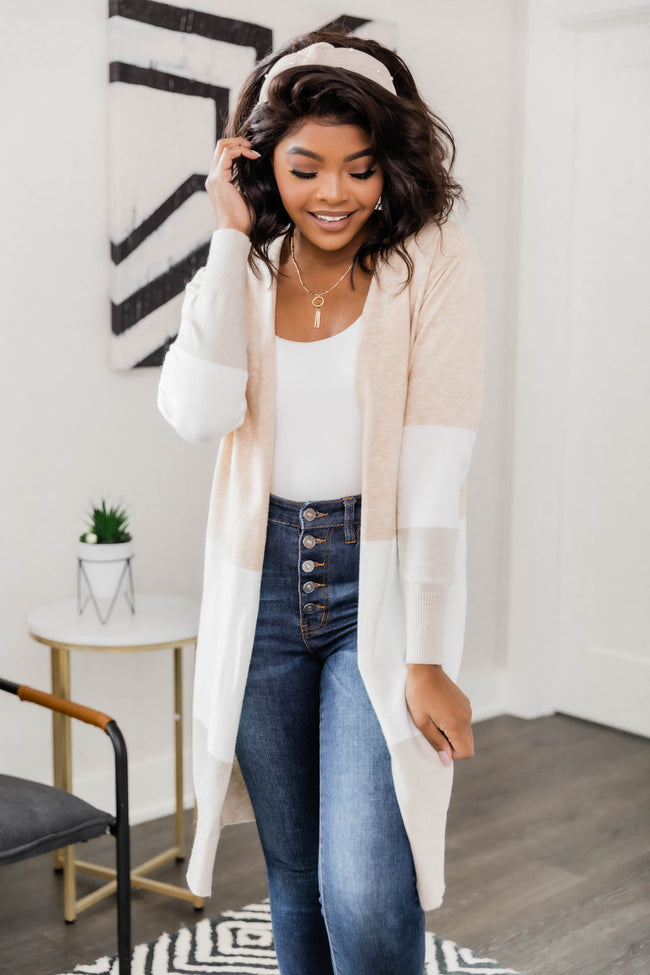 Secret Obsession Colorblock Cardigan Beige