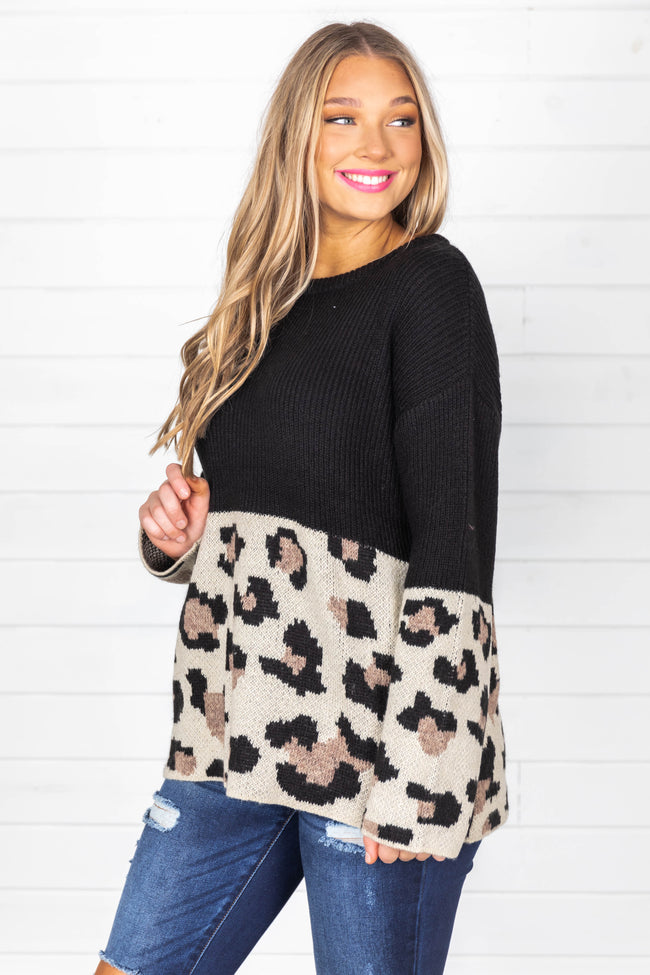 See You Together Black Animal Print Sweater FINAL SALE