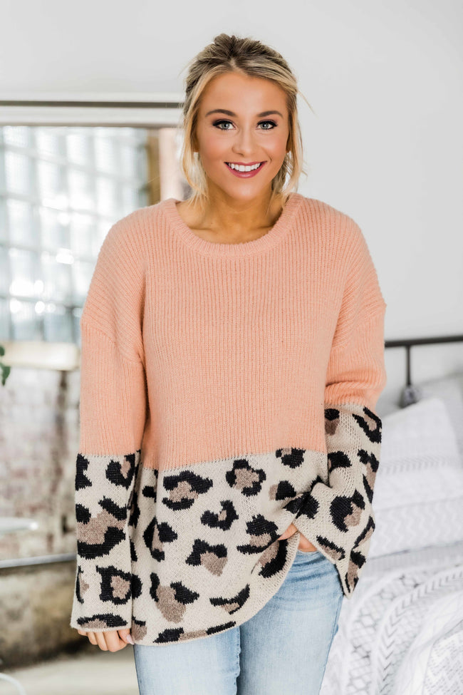 See You Together Peach Animal Print Sweater
