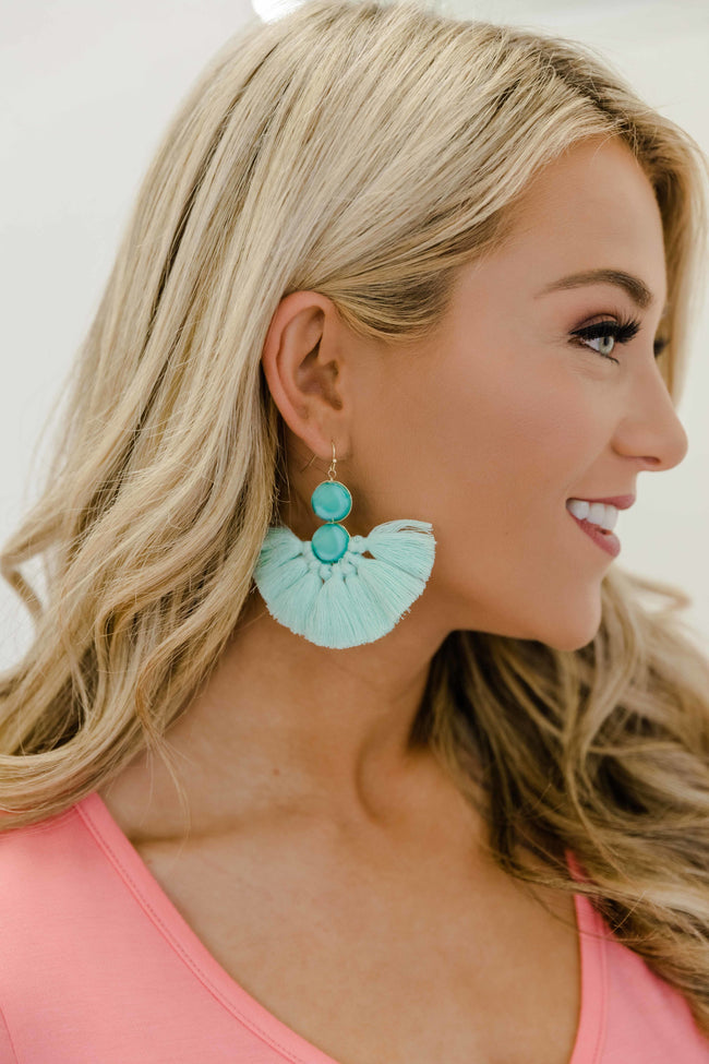 See Your Heart Aqua Tassel Earrings