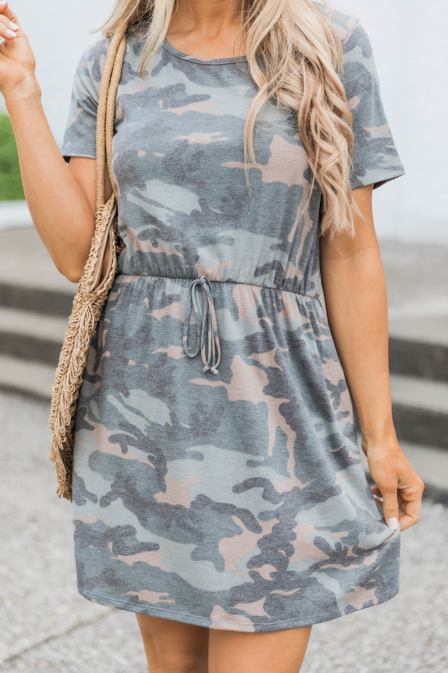 Share Your Love Green Camo Print Dress
