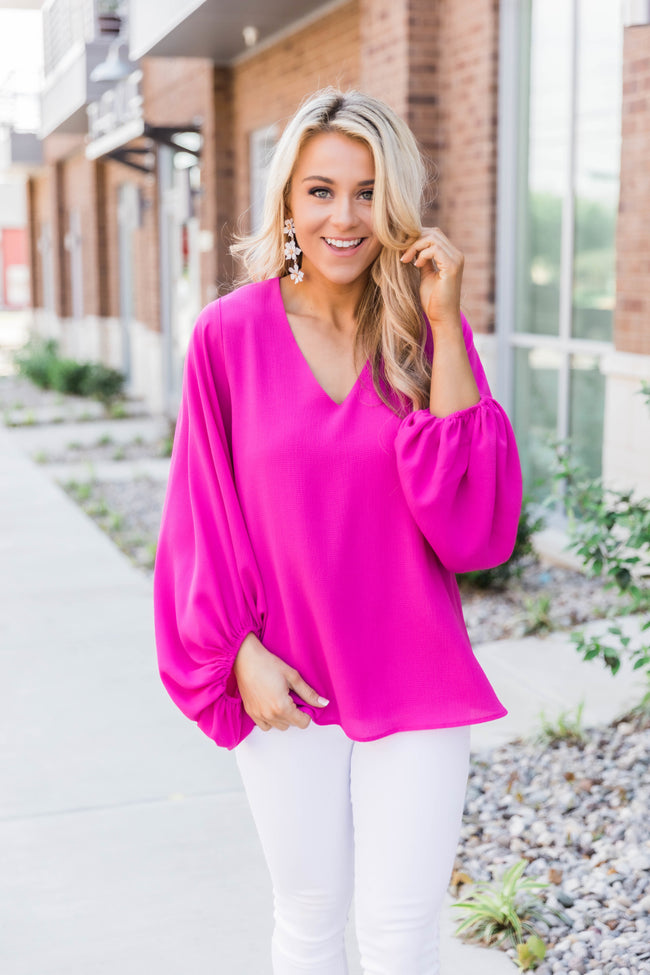 She Must Be Famous Magenta Blouse