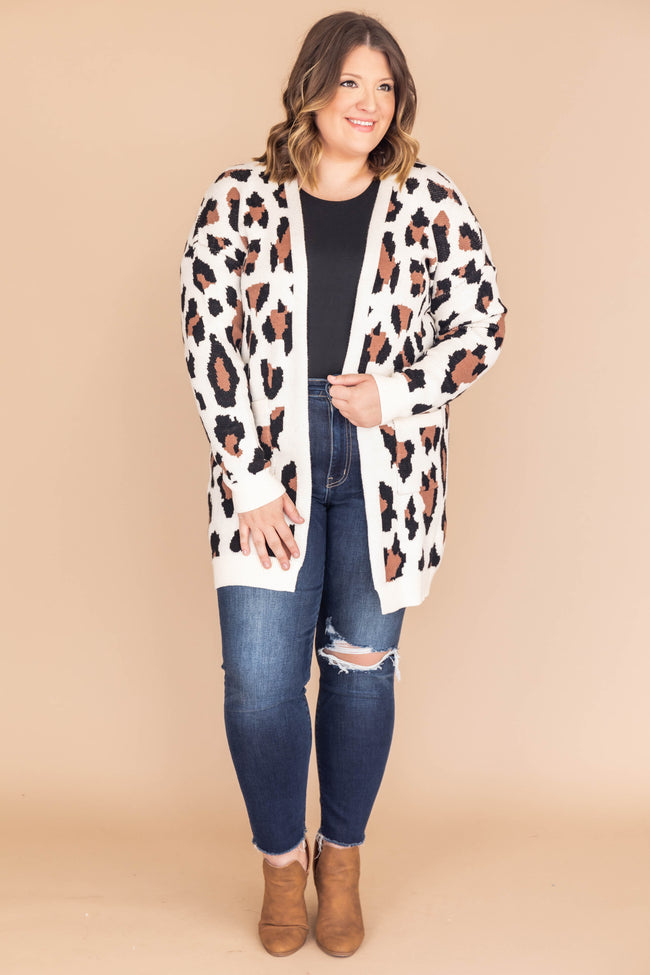 She's Always In Charge Cream Animal Print Cardigan