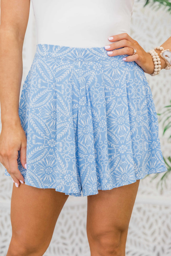 Show Me A Good Time Printed Shorts Periwinkle