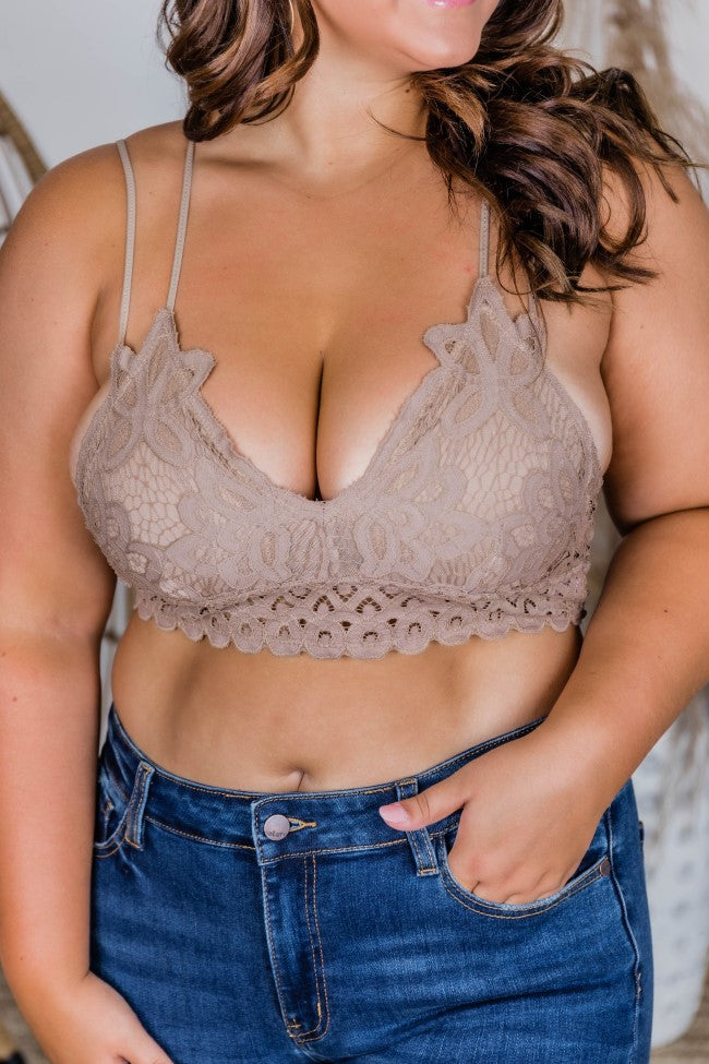 So This Is Love Tan Lace Bralette