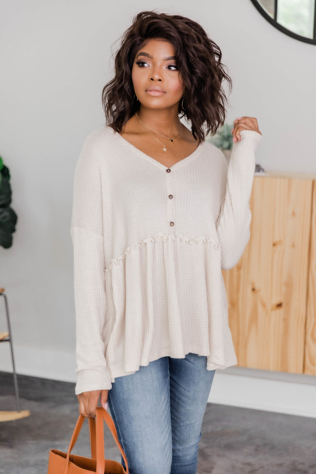 So Perfectly Yours Oatmeal Blouse