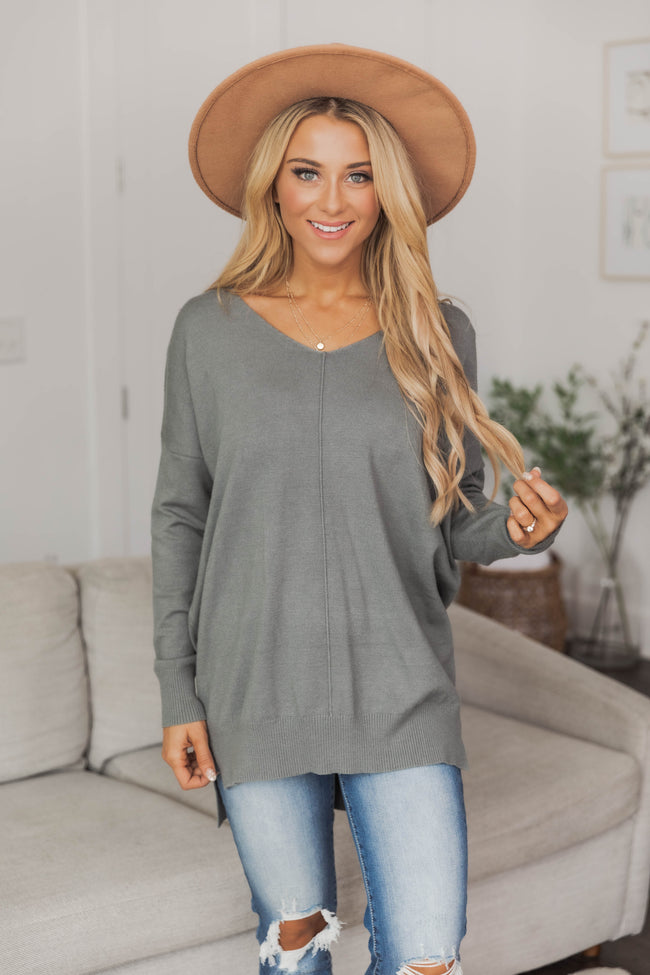 Something On Your Mind Olive Sweater