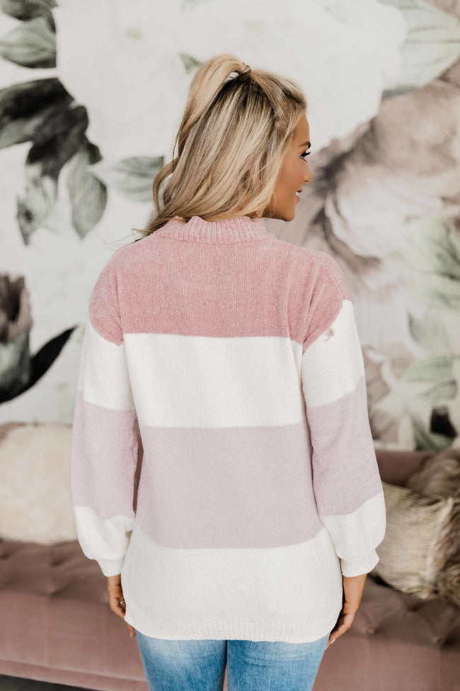 Song In Your Heart Pink Colorblock Sweater